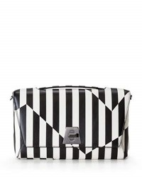Akris Anouk Geo Striped Leather Day Bag Black White Black White