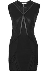 Iro Ambre Leather Trimmed Cotton And Silk Blend Mini Dress