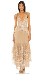 Tularosa Geonna Dress In Taupe. Nude And White