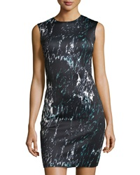 Carmen Carmen Marc Valvo Crackled Marble Print Sleeveless Sheath Dress Black Multi