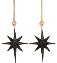 Aamaya By Priyanka Shooting Star 18Ct Rose Gold Plated And Black Onyx Drop Earrings Rose Gold Black Onyx