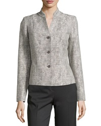 Lafayette 148 New York Three Button Long Sleeve Jacket Rock Multi