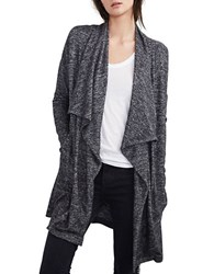Velvet By Graham And Spencer Marled Open Front Cardigan Grey