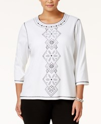 Alfred Dunner Plus Size City Life Collection Embellished Top White