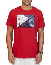 Nautica Big And Tall Collage Graphic Print Crewneck T Shirt Nautical Red