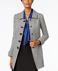 Tahari By Arthur S. Levine Asl Houndstooth Print Long Blazer Black And White