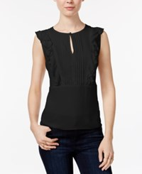 Maison Jules Pleated Ruffled Top Only At Macy's Deep Black