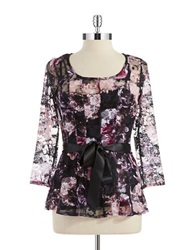 Chetta B Satin And Lace Top Blackberry