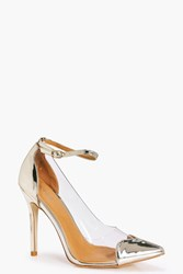 Boohoo Ankle Band Clear Side Heart Detail Court Gold