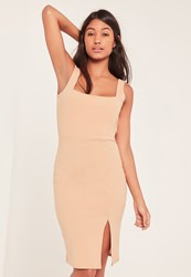 Missguided Tall Nude Square Neck Side Split Mini Dress