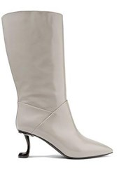 Marni Glossed Leather Boots Stone