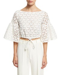 Milly Lydia Floral Embroidered Lace Crop Top White