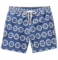 Hartford Mid Length Floral Print Swim Shorts Navy