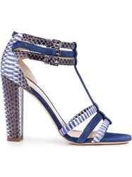 Chloe Gosselin 'Caladium' Chunky Heel Strappy Sandals Pink And Purple