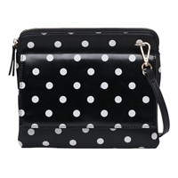 French Connection Pu Callie Pouch Bag Polkadot Black