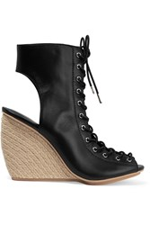 Rebecca Minkoff Elle Lace Up Leather Espadrille Wedge Sandals Black
