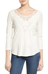 Lucky Brand Women's Lace Applique Top