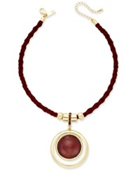 Inc International Concepts Silver Tone Faux Suede Pendant Necklace Only At Macy's Merlot