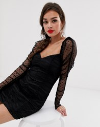 Finders Keepers Palermo Long Sleeve Ruched Mini Dress In Spot Mesh Black