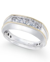 Macy's Men's Diamond Two Tone Five Stone Ring 1 2 Ct. T.W. In 10K Gold And White Gold