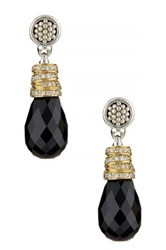 Lagos Embrace Sterling Silver And 18K Gold Diamond Accent Black Spinel Drop Earrings Metallic