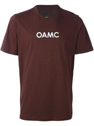 Oamc Logo Print T Shirt Pink And Purple