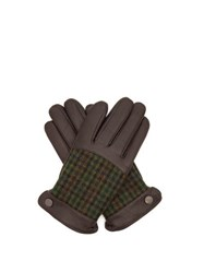 Dents Devon Faux Fur Lined Leather And Tweed Gloves Brown