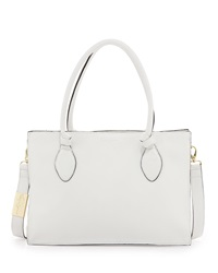 Foley Corinna Gabby Knot Leather Satchel Bag White