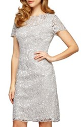 Alex Evenings Embroidered Lace Dress White
