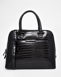 Aldo Structured Dome Tote With Front Pocket Detail Blackcroco