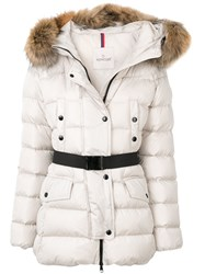 Moncler Clio Padded Jacket Feather Down Polyamide Racoon Fur Nude Neutrals