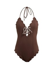 Marysia Broadway Scallop Edged Swimsuit Brown