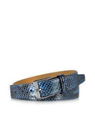 Forzieri Blue Python Leather Men's Belt