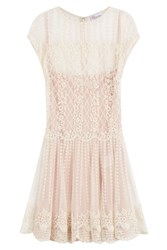 Red Valentino Dress With Lace Overlay White