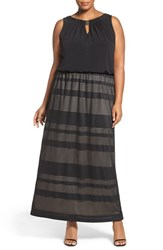London Times Plus Size Women's Pointelle Stripe Blouson Maxi Dress