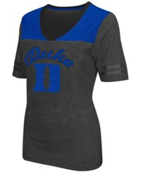Colosseum Women's Duke Blue Devils Twist V Neck T Shirt Charcoal Royalblue