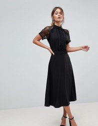 Liquorish A Line Lace Detail Midi Dress Black