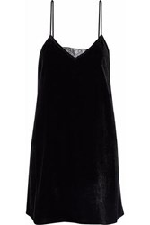 Cami Nyc The Backlace Paneled Velvet Mini Dress Black