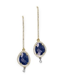 Meira T 14K Yellow And White Gold Blue Sapphire Dangle Earrings With Diamonds Blue Gold