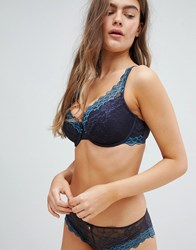 Boux Avenue Scallop Lace Plunge Dd G Cup Bra Navy
