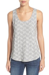 Women's Caslon Embroidered Cotton And Modal Tank Grey Embroidered Stripe