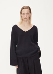 Dusan 'S Low Cut Sweater In Black Size Small Cotton Silk Cashmere