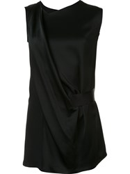 Ann Demeulemeester Draped Asymmetric Sleeveless Blouse Black