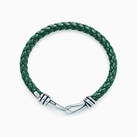Tiffany And Co. Paloma Picasso Knot Single Braid Bracelet Of Sterling Silver Green Leather.