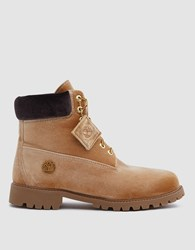 Off White Timberland Boot In Camel Brown