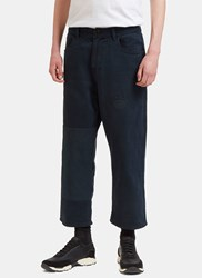Olderbrother Patched Straight Leg Denim Pants Navy
