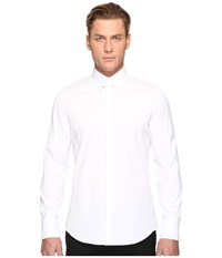 Dsquared Pin Collar Stretch Poplin Button Up White Men's Long Sleeve Button Up