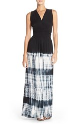 Women's Fraiche By J Tie Dye Ombre Jersey Maxi Dress Black Dip Tie Dye
