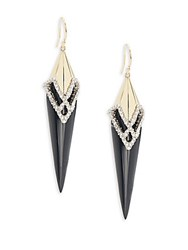 Alexis Bittar Crystal Encrusted Lucite Spike Drop Earrings Black