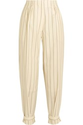 Hillier Bartley Buckled Pinstriped Wool Twill Pants Cream